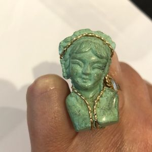 Turquoise Woman Ring in Gold Wire